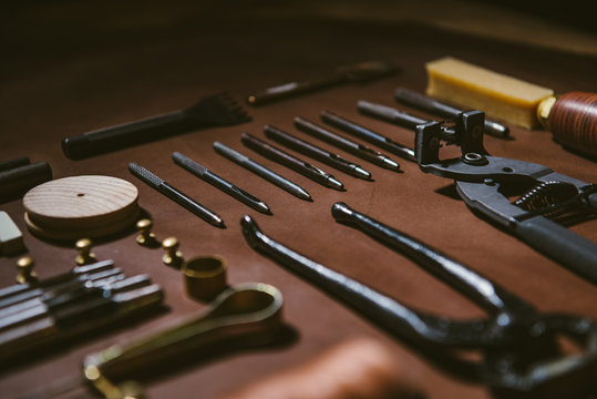 Various leather work tools
