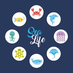sea life icons set flat draw illustration vector design graphic