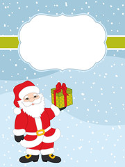 Vector Christmas and New Year Card Template with Santa Claus on Snow Background.  Vector Christmas card.