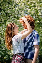 Young ginger couple enjoying the sunny day
