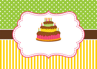 1036296 Vector Card Template with a Cake and Candles on Stripes and Polka Dot Background.