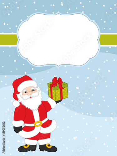 vector christmas and new year card template with santa claus on snow background vector christmas