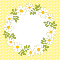 Vector Card Template with a Floral Wreath on Polka Dot Background. Vector daisy.