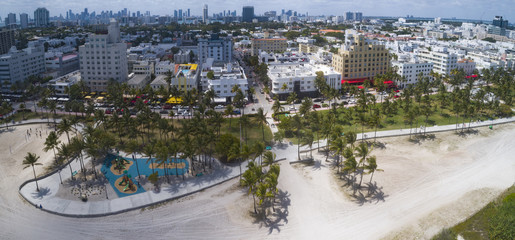 Miami Beach Ocean Drive Horizontal Panoramic Aerial View