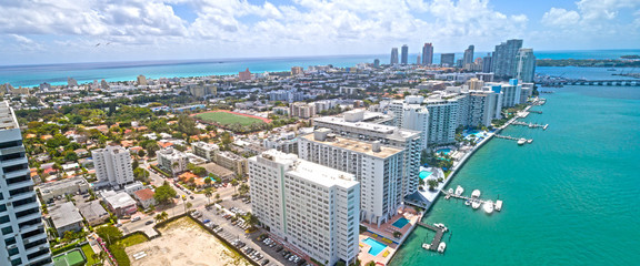 Miami Beach Western Bay Side Aerial Panorama of City