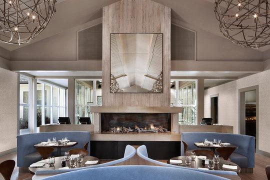 Interiors of luxury upscale restaurant