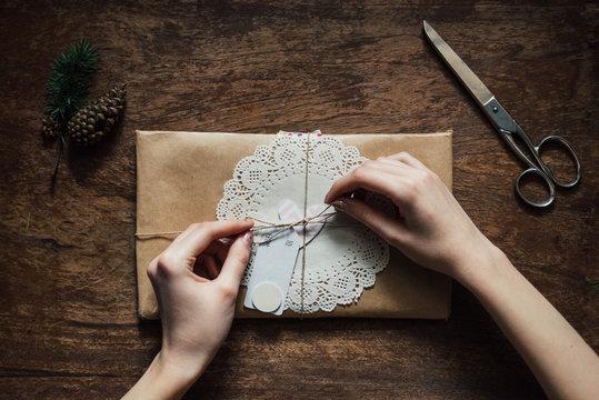 Woman preparing a handmade gift