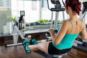 Woman Exercising on a Rowing Simulator