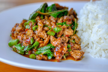 fried beef with basil and rice in dish