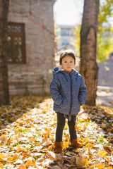 Toddler girl standing in autumn park