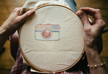 Embroidery hoop with silks and buttons