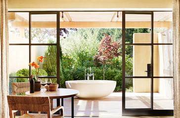 Luxury resort room with outdoor bathtub