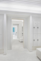 All white locker room at luxury resort and spa