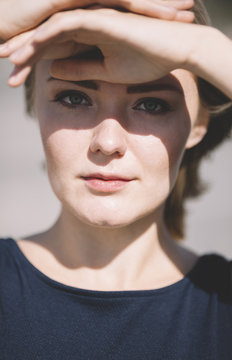 Portrait of young blond woman