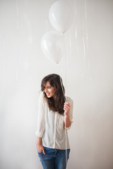 Pretty Woman With White Balloons