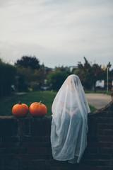 Little boy in Ghost halloween costume