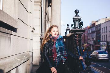 Woman portrait in the city in winter
