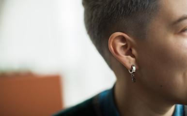 closeup of lesbian young woman