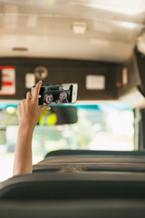 School Bus Girl Holds Up Phone To Take Selfie