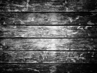 Abstract black and white filter on grungy wooden texture floor background