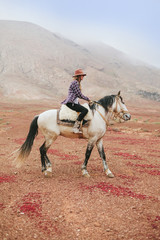 Woman Riding a White Horse in the Middle of a Desert Area