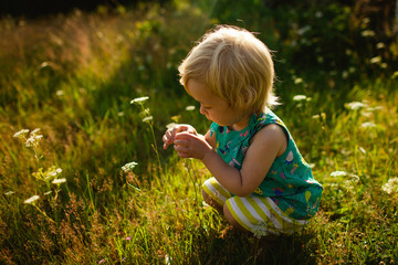 Girl playing with flowers in a meadow