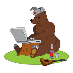 1037638 Russian hacker humorous illustration - brown bear with laptop