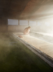 Woman relaxing at Japanese Hot Springs