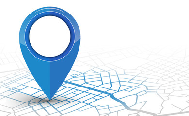 GPS navigator pin checking blue color on white background Wall mural