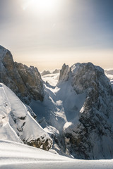 Snowcovered mountains in italian alps