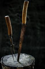 Antique carving set
