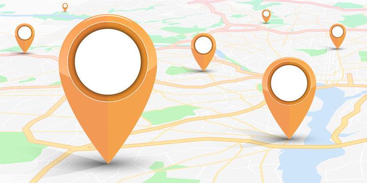 GPS navigator pin mock up orange color  on street map of city