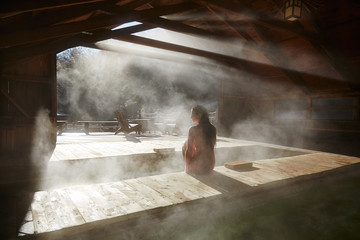 Woman relaxing at Japanese spa and hot springs in California