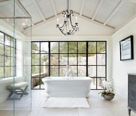 Opulent bathroom in luxury custom built home