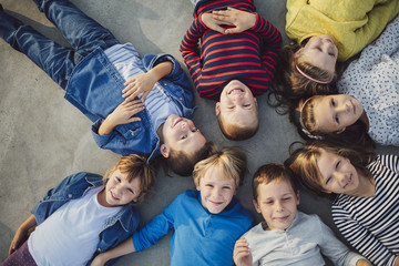 Overhead View of Kids Lying Outdoors