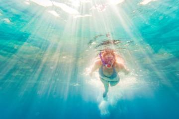 Bikini Woman Swimming Underwater at All Inclusive Caribbean Resort White Sand Beach