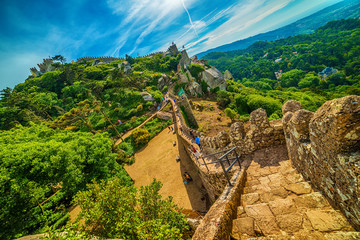 Sintra, Portugal: the Castle of the Moors, Castelo dos Mouros, located next to Lisbon