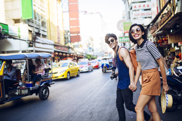 Couple Strolling Around Bangkok