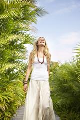 Woman laughing at luxury resort