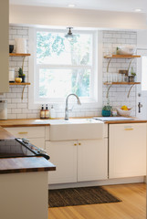 Bright, modern kitchen no people and wood floors countertops