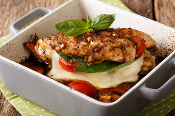 Balsamic chicken breast stuffed with mozzarella, basil and tomatoes close up. horizontal