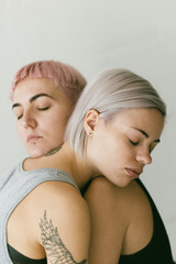 lesbian couple in closeup