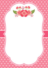 Vector Card Template with Pink Flowers on Hearts Background.