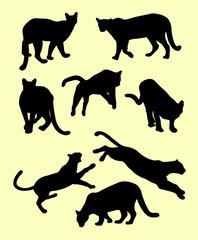 Puma mammals animals silhouette. Good use for symbol, logo, web icon, mascot, sign, or any design you want.