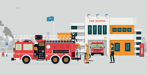 Fire station with fireman and fire truck with gray background.