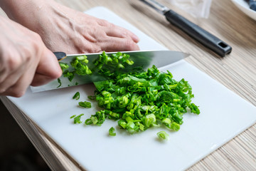 Female hands chopping green onions