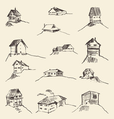 Set of hand drawn rural houses vector illustration