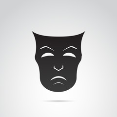 Ancient greek mask vector icon - sadness.