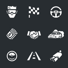 Vector Set of Street racing Icons.