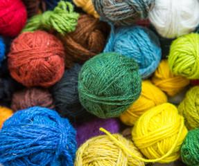 A beautiful lot of colorful yarn balls